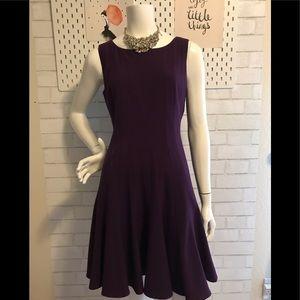 Calvin Klein deep purple inverted pleated dress